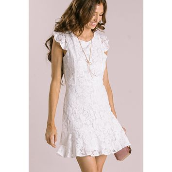 Madeline Off White Lace Ruffle Dress
