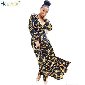 HAOYUAN Woman Sexy Retro Maxi Dress British Style Robe Long Sleeve Gold Pinted Long Dress Autumn Bodycon Elegant Party Dresses