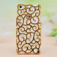 Sparking Rhinestone Flower Hollow Out Case For Iphone 4/4s