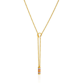 14K Tri-Tone Yellow, White, and Rose Gold Lariat Necklace