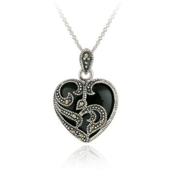 "18"", 925 Silver, Marcasite & Onyx, Heart Necklace"