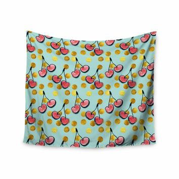 """Bruxamagica """"Cherry With Gold Dots Blue"""" Gold Blue Illustration Wall Tapestry"""