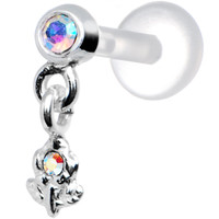 Silver 925 Aurora CZ Dangling Flower Tragus Earring | Body Candy Body Jewelry