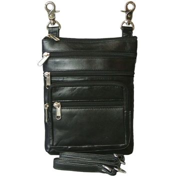Texcyngoods Lambskin Leather Biker Belt Bag and Cross Body Purse with Zippers Galore