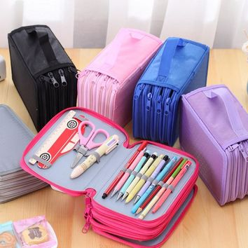 Pencil case large 72 holes Art pen color pencil box Stationery storage bag Cosmetic make up brush organizer bag school supplies