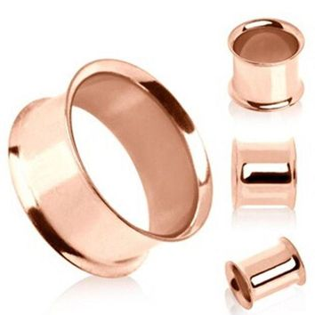 ac PEAPO2Q 1 pair Stainless steel anodized rose gold double flare flesh tunnel ear plug gauges ear expander