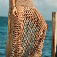 Brown Convertable Crochet Maxi Beach Skirt