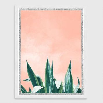 Dracaena Plant Wall Art in White Frame