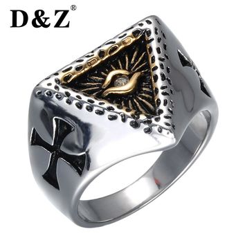 D&Z Religious Gold Color Prayer Cross Ring 316L Titanium Stainless Steel Illuminati Pyramid Eye Rings For Men Jewelry
