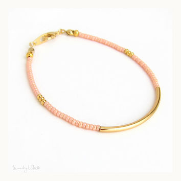 Coral Gold Bar Bracelet - Sleek Gold Tube Bracelet, Beaded Bracelet, Wish Bracelet, Friendship Bracelet, Delicate Bracelet, Dainty Bracelet