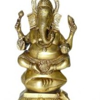 Ganesh Ganapati Sculpture Brass Statue from India