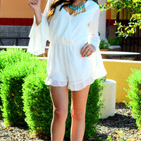 LIFE OF LUXURY CHIFFON ROMPER IN WHITE