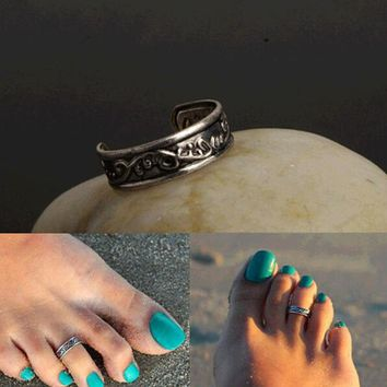 Women Lady Elegant Metal Adjustable Antique Silver knuckle Ring Open Mouth Metal Toe Ring Foot Beach Jewelry