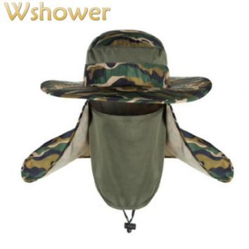 Which in shower Women Men Wide Brim Camouflage Bucket Hat Face Neck Protection Fisherman Fishing Caps Camo Sun Summer Panama