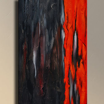 Original Textured Abstract Painting on Canvas  Contemporary Abstract  Modern Art  Wall Hanging Black Red wall decor home decor - CH16