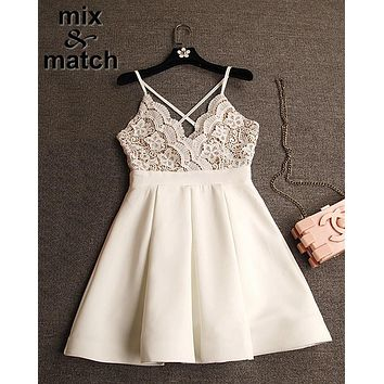 xiM&M@ch Cute Sexy Black White Dress Vestido branco V-neck Backless Cross Straps Lace Patchwork Ball gown Pleated Dress DR03378C