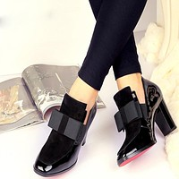 New 100% REAL PHOTO Red Bottom high heels pumps square toe genuine leather shoes women ladies black Sexy chaussure femme 34-44