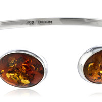 925 Sterling Silver Adjustable Cuff Bangle Bracelet with Two Oval Dark Amber Stones