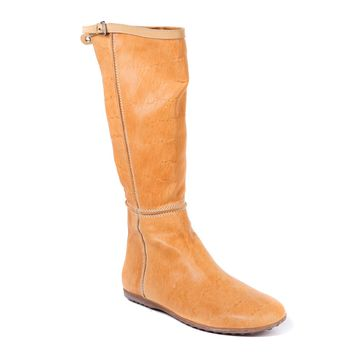 Car Shoe Women's Light Caramel Flat Leather Tall Boots