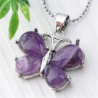 "Jovivi Silver Stainless Steel Gemstone Butterfly Pendant Necklace, 21.5"" (Amethyst): Jewelry"