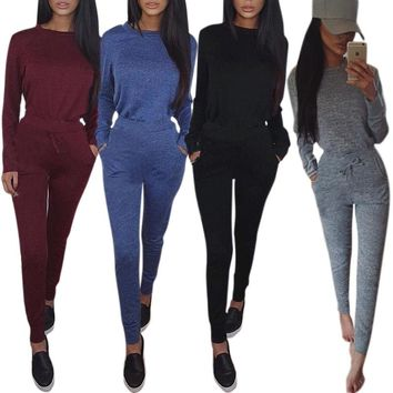 Women Long Sleeve Round Neck Tops And Pencil Pants Solid Tracksuit Jumpsuits