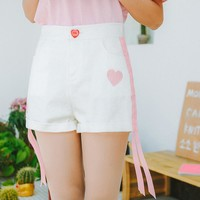 Heart and Ribbon Embroidery Shorts