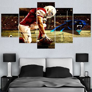 Modern New Home Decor Animal Carolina Panthers 5 Panel Canvas Painting Calligraphy Sport Ball Team Poster Wall Art Paintings