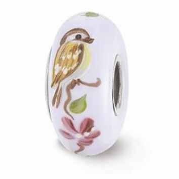 Sterling Silver Hand Painted Sparrow Glass Bead