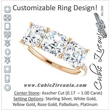Cubic Zirconia Engagement Ring- The Mary Helen (Customizable Triple Asscher Cut Design with Ultra Thin Pavé Band)
