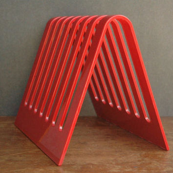 Mid Century Modern Red Plastic Record And Magazine Holder - Kartell / Heller Era Magazine Organizer