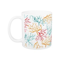 Watercolor Coral Reef Branches Teal Orange Red Classic White Coffee Mug