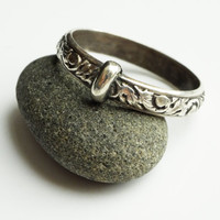 Filigree Thistle Pattern - Solid Sterling Silver Band -  Celtic - All Sizes - Sporran Key - Blood of my Blood - Sassenach - Blacksmith