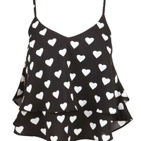 Black Heart Print Tiered Cropped Camisole at Fashion Union