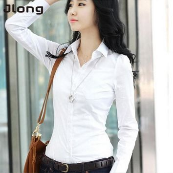 Women's Fashion OL Style Shirt Long Sleeve Turn-down Collar Button Lady Blouse Tops rorh