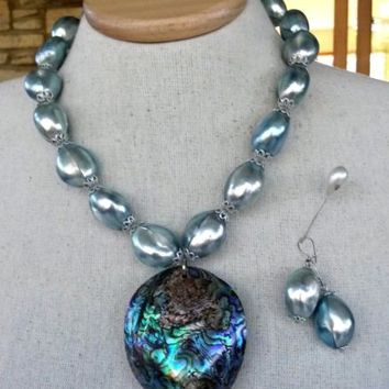 Silver Blue Osmena Pearl Bead Paua Shell Necklace Earrings Set w/AntiqueClasp