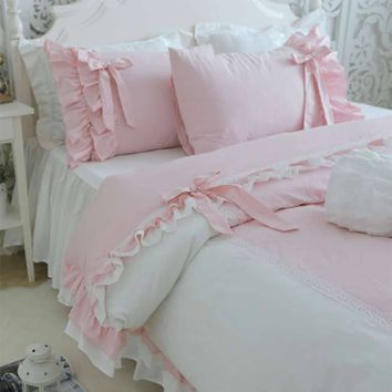 Ruffle fairyfair pink bedding set girl,cotton twin full queen king,single double bedclothes pillow cases quilt cover bed dress