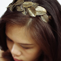 gold leaf headband, handmade by polymer clay, country sweet girl