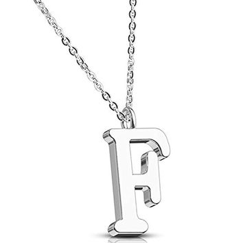 BodyJ4You Necklace Letter F Initial Alphabet Charm F Stainless Steel Chain