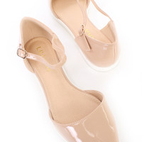 Nude Ankle Strap Pointy Toe Sandal Flats Patent Faux Leather