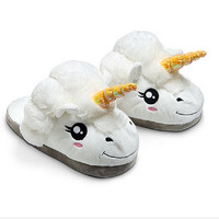 Plush Unicorn Cotton Home Slippers for White Despicable Winter Warm Chausson Licorne Indoor Christmas Slippers Fit Size36-41