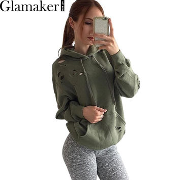 Glamaker Autumn winter warm ripped hoodie sweatshirt women 2016 long sleeve loose casual  jumper Army green chic pullover tops