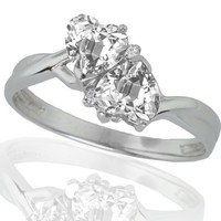10k White Gold White Topaz and Diamond Heart Ring (0.02 cttw, I-J Color, I1 Clarity)