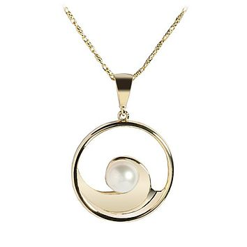 14K Yellow Gold Wave Incircle Pendant w/Pearl(Chain Sold Separately)