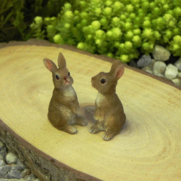 Fairy Garden Bunny Rabbit ONE - accessories - terrarium supplies  miniature animals for diorama - craft supply - fairy garden supply