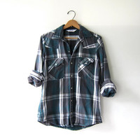 Vintage Plaid Flannel / Grunge Shirt / Boyfriend button up shirt / Snap up thick flannel / washed out