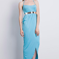 Turquoise Halter Draped Gold Belted Maxi Dress