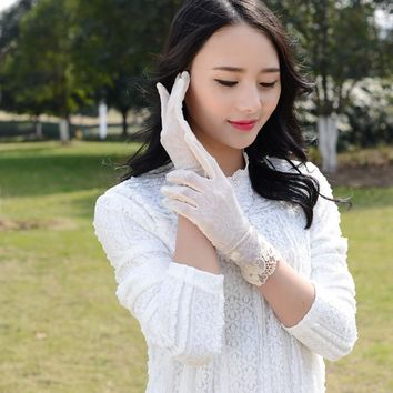 2016 Summer Ice Silk Sun Protection Gloves Lace Paragraphs Thin Short Driving  UV Protection Women Gloves Outdoor