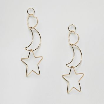 ASOS Interlocking Heart & Star Earrings at asos.com