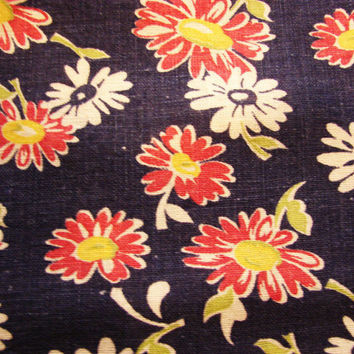 Full 1940s Old Feedsack Fabric Floral Daisy Print Blue, White Red Daisies Flowers Cotton Feed Sack