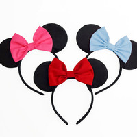 Minnie Mouse Ears Mouse Ears Bow Halloween Costume Blue Mickey Ears Headband Blue Minnie Ears Blue Minnie Mouse Bow Blue Minnie Mouse Outfit